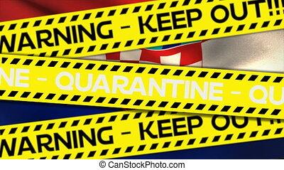 mots, écrit, bande, garder, quarantaine, out!, avertissement...