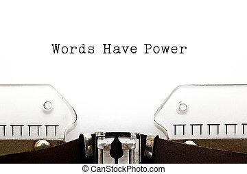 mots, avoir, puissance, machine écrire