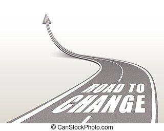 mots, changement, route, autoroute