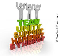 mots, -, collaboration, stand, membres, équipe