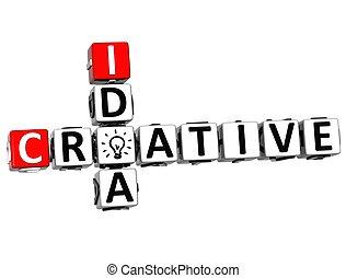 mots croisés, 3d, idée, créatif