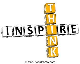 mots croisés, 3d, inspirer, penser