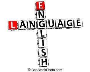mots croisés, 3d, langue, anglaise