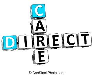 mots croisés, 3d, texte, direct, soin