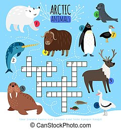 mots croisés, arctique, animaux, puzzle