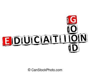 mots croisés, bon, education, 3d