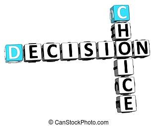 mots croisés, décision, 3d, choix