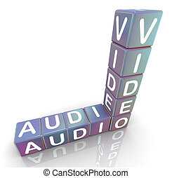 mots croisés, de, 'audio, video'