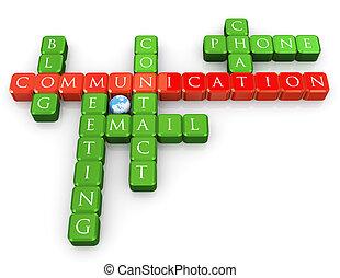 mots croisés, de, communication
