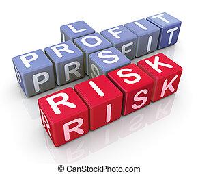 mots croisés, de, profit, et, risque