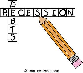 mots croisés, dettes, récession