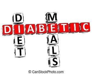 mots croisés, diabétique, repas, régime