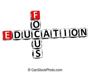 mots croisés, education, foyer, 3d