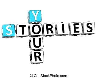mots croisés, histoires, ton, 3d