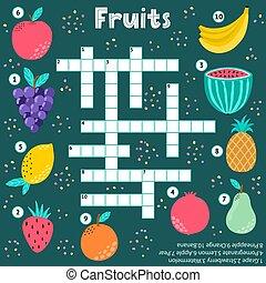 mots croisés, jeu, gosses, fruits