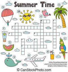 mots croisés, kids., jeu, été, page, pédagogique, temps, rigolote, activité