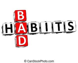 mots croisés, mauvais, habitudes, 3d, texte