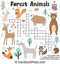 mots croisés, mignon, jeu, animaux, gosses, forêt