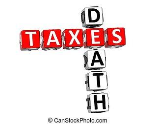 mots croisés, mort, impôts, 3d