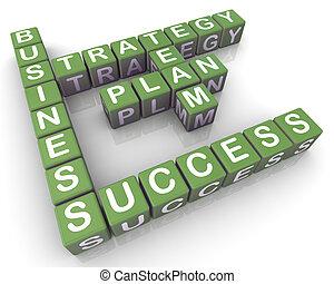 mots croisés, plan, business