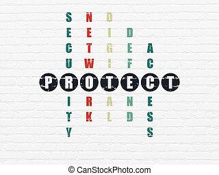 mots croisés, protéger, sécurité,  Puzzle,  concept: