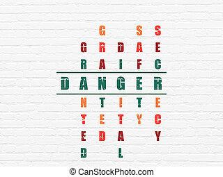 mots croisés, protection, concept:, danger