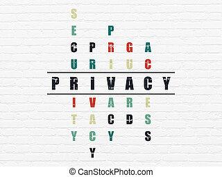 mots croisés, protection, concept:, intimité