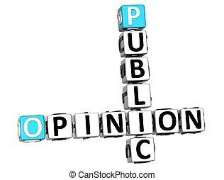 mots croisés, public, opinion, 3d