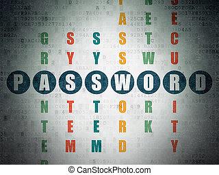 mots croisés,  Puzzle, mot passe, sécurité,  concept: