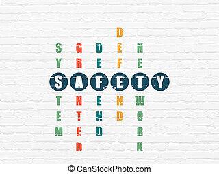 mots croisés,  Puzzle, sécurité,  concept: