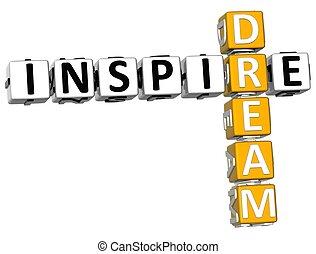 mots croisés, rêve, inspirer, 3d