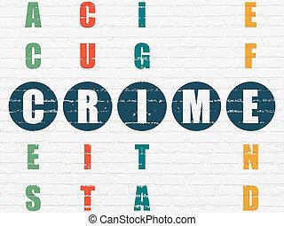mots croisés, sécurité, concept:, crime