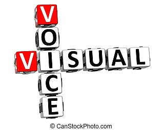 mots croisés, visuel, voix, 3d