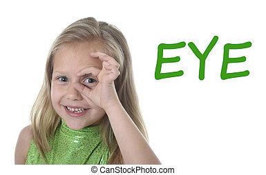 mots, entourer, corps, girl, anglaise, mignon, peu, parties, apprentissage, école, oeil