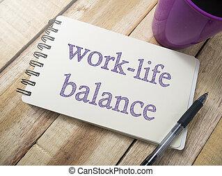 mots, motivation, travail, citations, vie, concept, équilibre