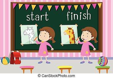 mots, opposé, girl, dessin, début, girafe, finition