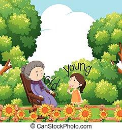 mots, opposé, grand-mère, enfant, vieux, jeune