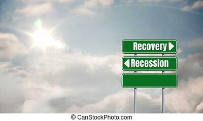 mots, récupération, écrit, ciel, récession, arrière-plan ...