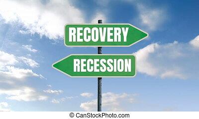 mots, récupération, écrit, ciel, récession, bleu, backgro, ...