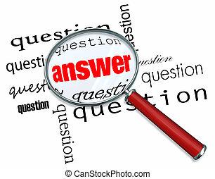 mots, -, réponses, verre, questions, magnifier