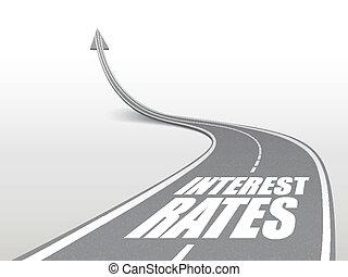 mots, route, taux, autoroute, intérêt