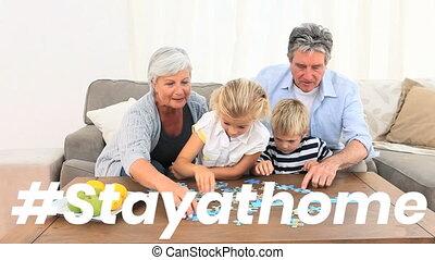 mots, #, séjour, grands-parents, leur, maison heureuse, sur...