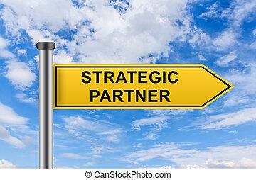 mots, signe, route, jaune, associé stratégique