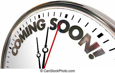 mots, venir, horloge, bientôt, previews, illustration, 3d