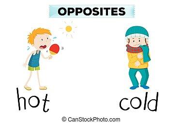motsats, ord, för, varm, och, kall