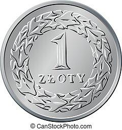 motsatt, polska, pengar, en, zloty, mynt