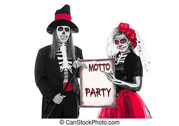 Motto Party Halloween - Male and female Sugar Skull holding...