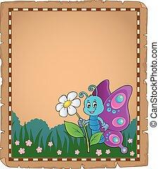 motyl, 3, szczęśliwy, temat, pergamin