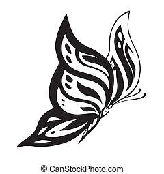 motyl, abstrakcyjny, sylwetka, zdobny
