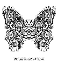 motyl, abstrakcyjny, wektor
